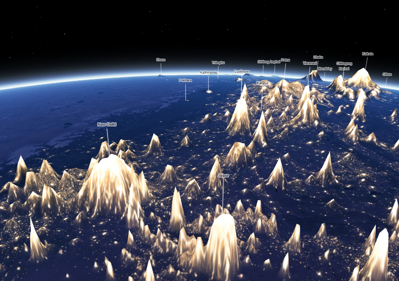 Earth At Night, Mountains Of Light — Information is Beautiful Awards